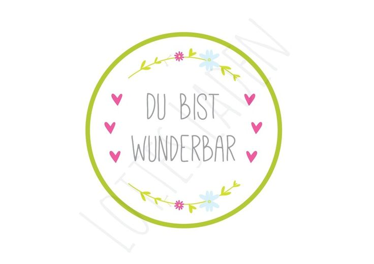 24 Aufkleber ''Du bist wunderbar'' Sticker Etikett von Lottes Laden auf DaWanda.com