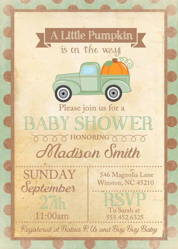 Little Pumpkin Fall Baby Shower Invite By Themilkandcreamco