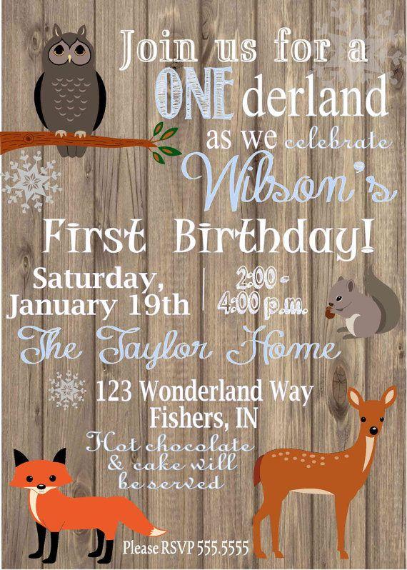 Digital Woodland Animals Winter Onederland First Birthday Party Invitation…