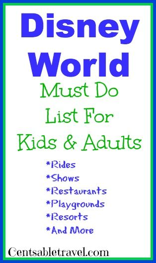 What to do at Disney World: Must Do List @Linsey Rendell Waterstraat thought of you when I saw this