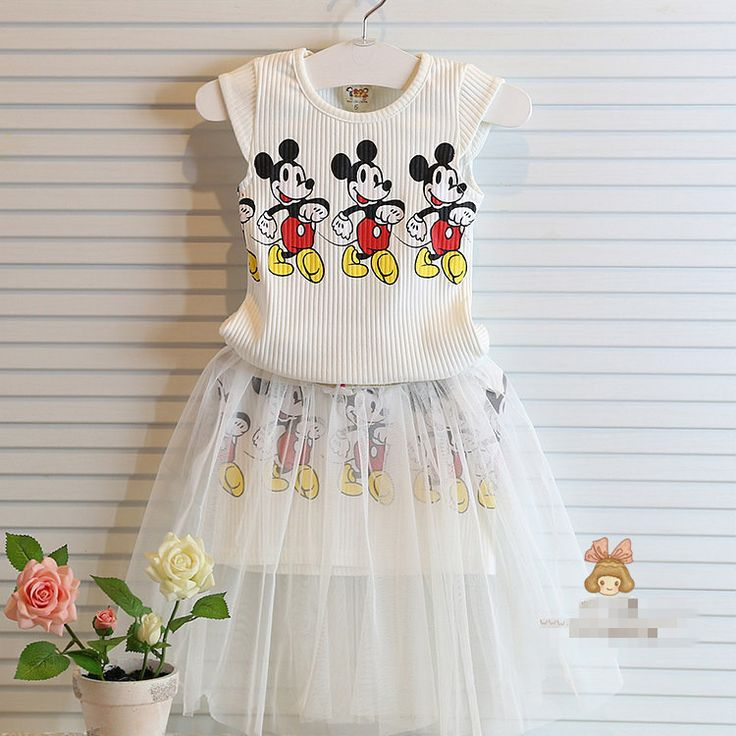 child garment summer girls dress baby girls clothes fashion children clothing set,cartoon mickey clothing sets kids clothes 2-7Y