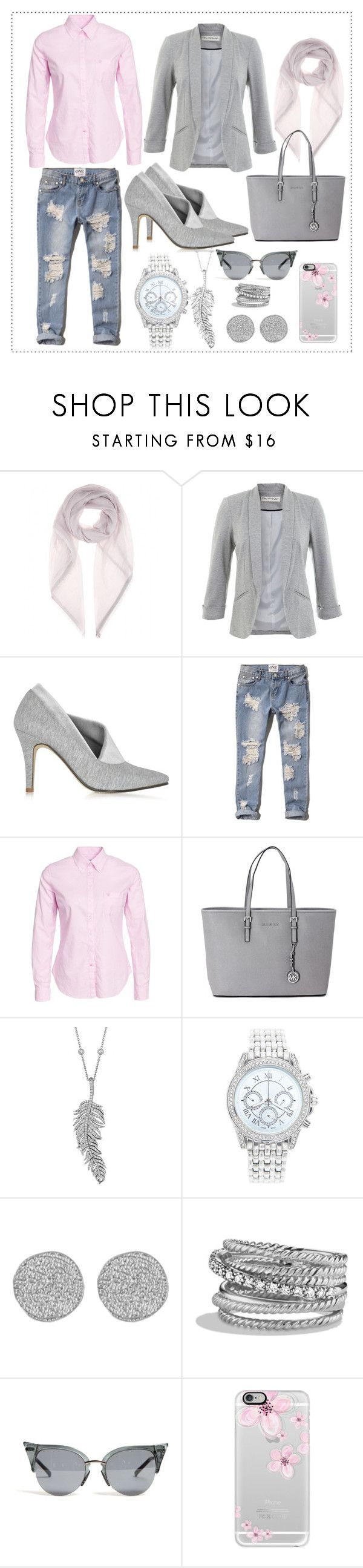 """""""Pink and Grey"""" by ina-kis ❤ liked on Polyvore featuring Loro Piana, Miss Selfridge, Zoe Lee, Abercrombie & Fitch, Morris, Michael Kors, Penny Preville, Lane Bryant, Karen Kane and David Yurman"""