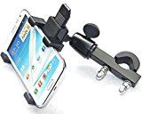 "BreaDeep 360-degree Rotatable Bicycle Bike Motorcycle Handlebar Phone Holder Stand Mount Bracket for Large Size Smartphones GPS IPAD MINI Tablets - Clamp Width 2.75""-5.70"" (Black)"