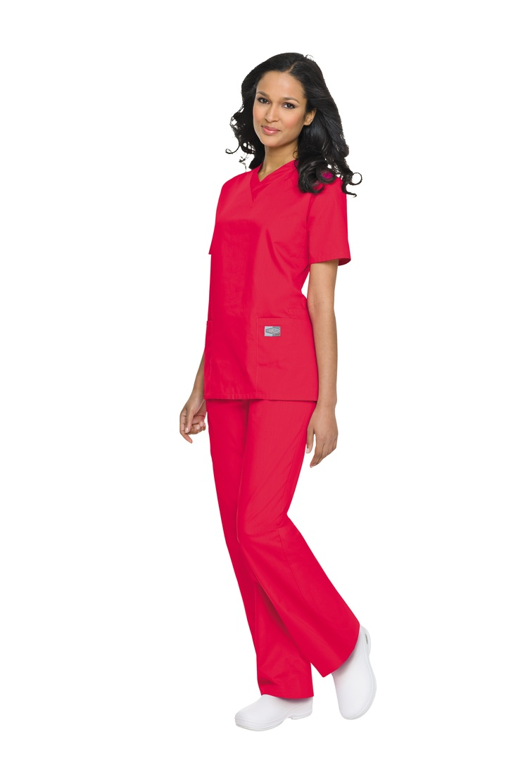 New Red Scrub Zone V-Neck Tunic      V-neck style. Short set-in sleeves.