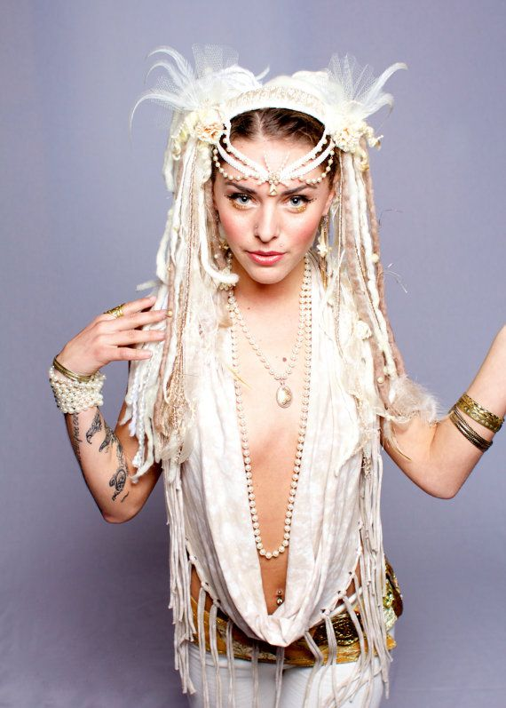 White & Beige Tribal Feather Headdress by lotuscircle on Etsy