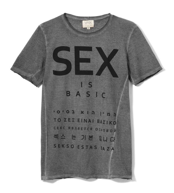 SEX IS BASIC t-shirt SEX Łukasz Jemioł sample sale on http://milieubazaar.com