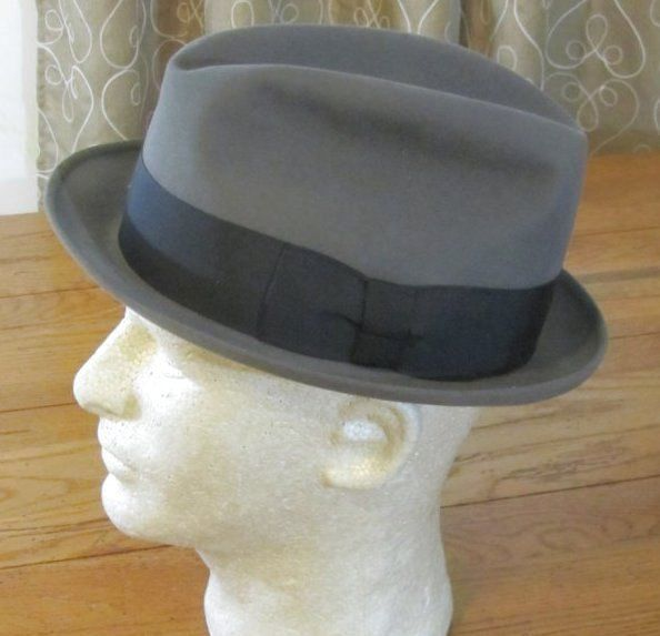 Vintage Stetson FEDORA Gray Hat The Sovereign 7 1/8