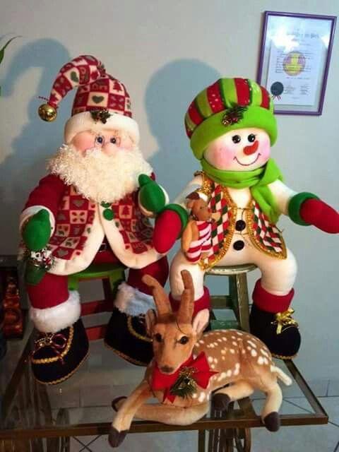 Santa y muñeco de nieve con patrones