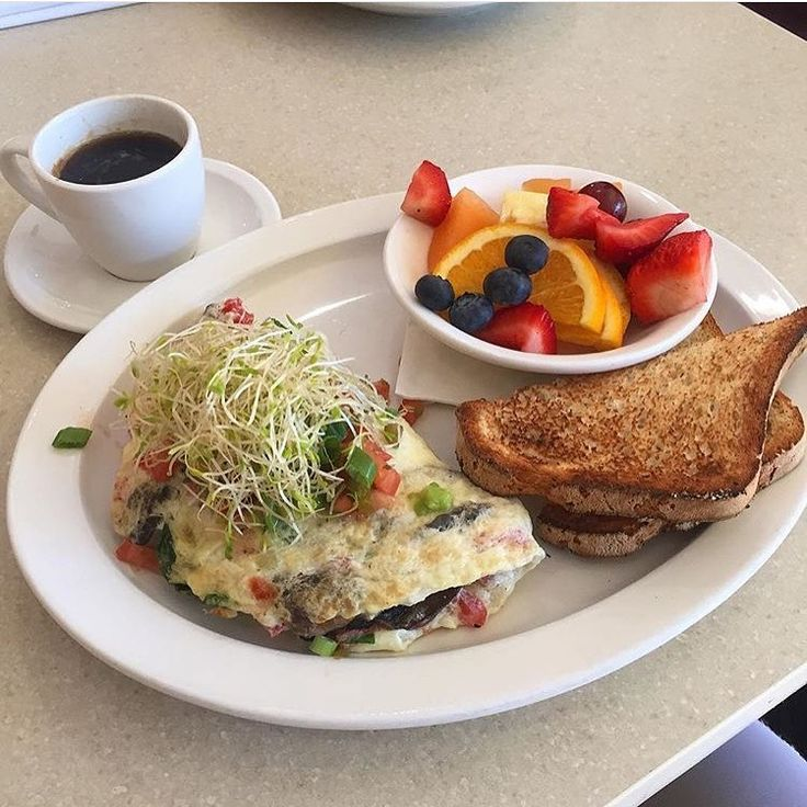 BREAKFAST IDEA: Egg white omelet, mushrooms, pico de gallo,alfalfa sprouts, spinach, tomatoes, and avocado.  Carbs: multi grain dry toast but a little trick is to spread the creamy avocado on it to make avocado toast. This is an egg white omelet but not because the yolk is bad (yolks contain a lot of essential nutrients), but because I already have a source of good fat in there [the avocado]. It is all about balancing out your meals.  Side of fruit.