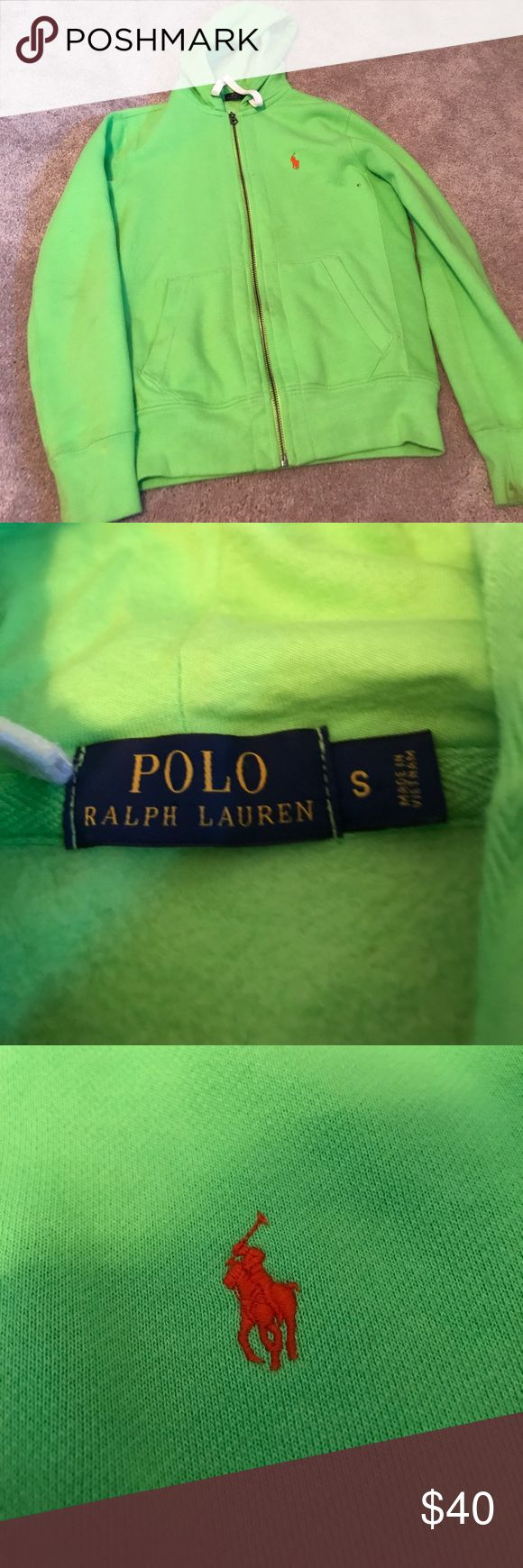 Men's Polo Ralph Lauren Green Zip up Hoodie Small This is a fully authentic men's polo Ralph Lauren hoodie. A little dirt on sleeves, but easily cleanable with oxy clean. Condition 8.5/10 Polo by Ralph Lauren Shirts Sweatshirts & Hoodies