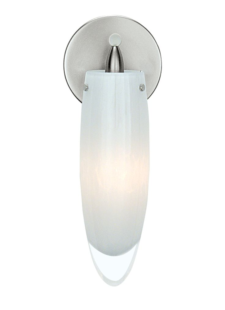 Available in amber or opal shown glass the isis wall sconce light by lbl lighting has a colorful frit thats integrated into crystalline glass with a