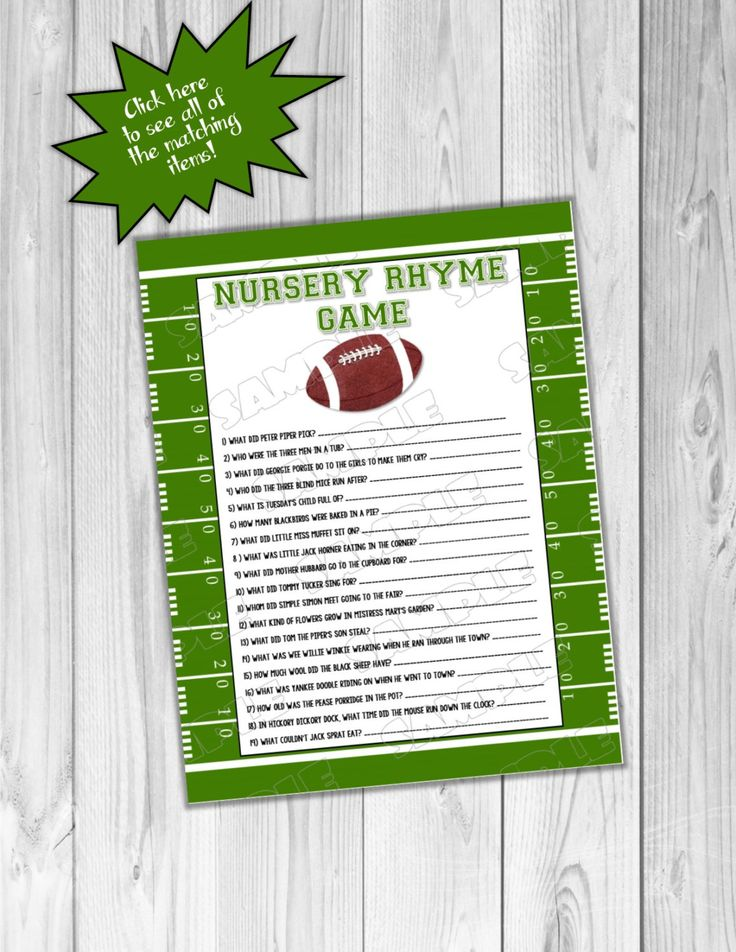 Football Baby shower games nursery rhyme game Printable INSTANT DOWNLOAD  UPrint  by greenmelonstudios football sports baby shower by greenmelonstudios on Etsy