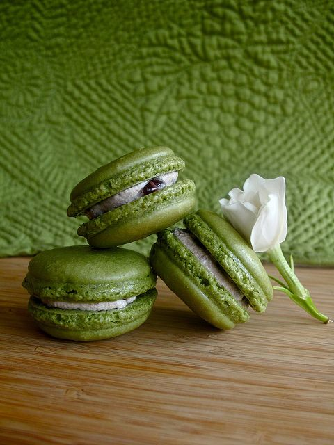 Matcha Macarons.  Hm Id like to learn how to make these! This blog has a tasty sounding recipe.