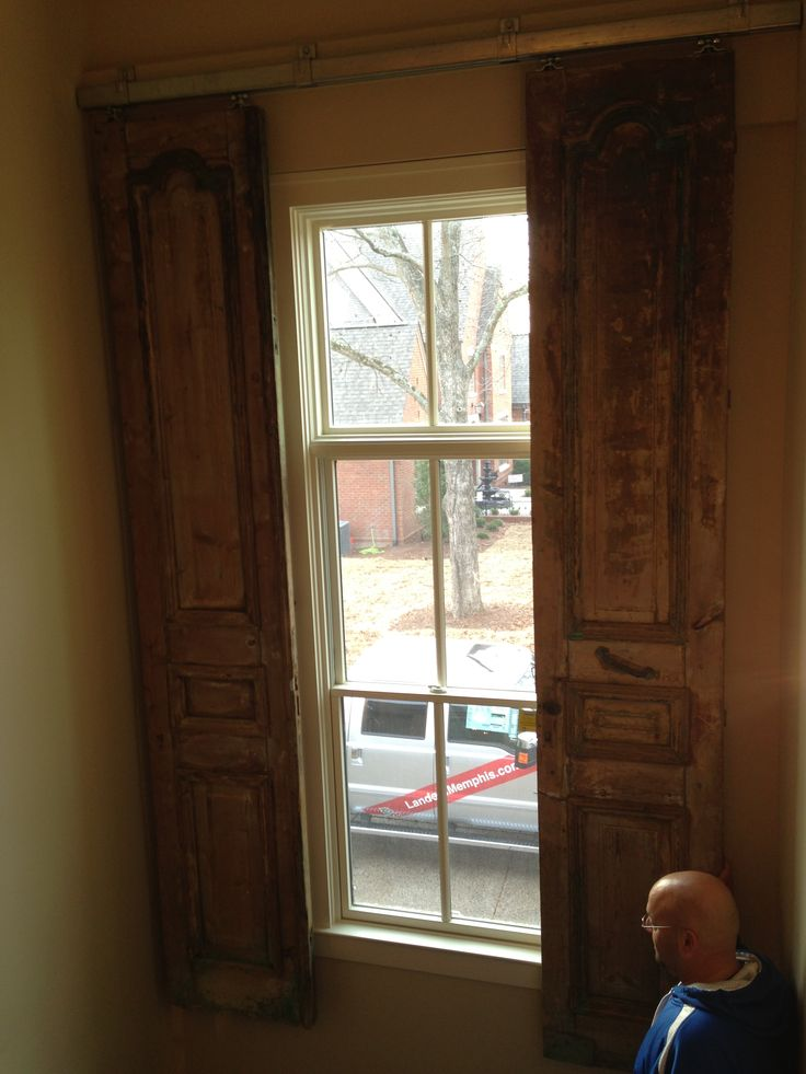 89 best images about for the home on pinterest window for Barn doors over sliding glass doors