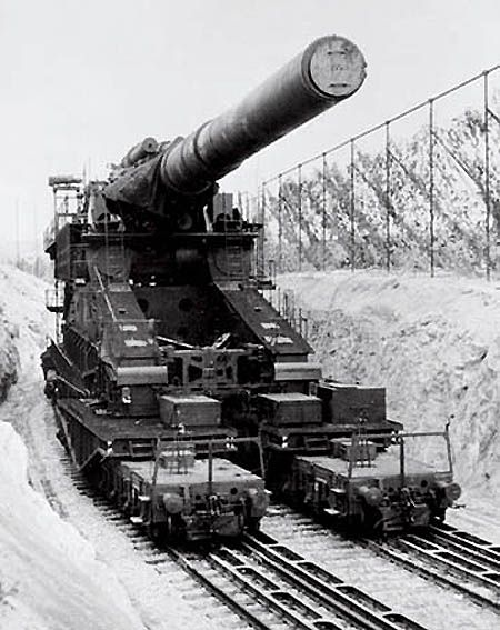 1) Schwerer Gustav (English: Heavy Gustaf, or Great Gustaf) and Dora were the names of two massive World War II German 80 cm K (E) railway siege guns. They were developed in the late 1930s by Krupp for the express purpose of destroying heavy fortifications, specifically those in the French Maginot Line. They weighed nearly 1,350 tons, and could fire shells weighing seven tons to a range of 37 kilometers (23 miles).