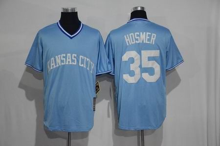 New Kansas City Royals New Material Jersey Mens 35 Eric Hosmer Sky Blue Throwback Pullover Cooperstown Cool Base Baseball Jersey