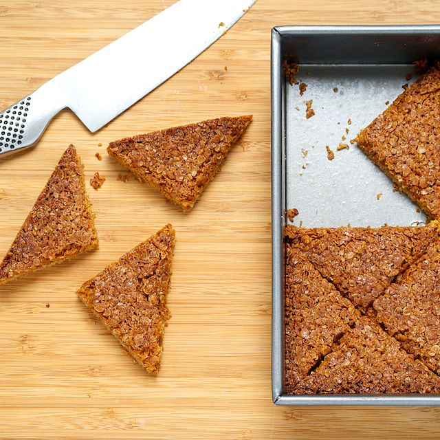 """Flapjacks"""". Not an healthy snack, but wow: brown sugar, butter, syrup ..."""