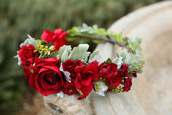Lush MOMMY AND ME Red flower crown set Bohemian headpiece