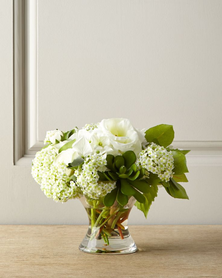 Snowball faux floral arrangement green white peonies