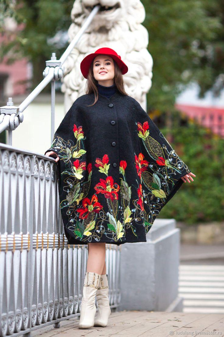 Купить Пальто-пончо Осенние искры в интернет магазине на Ярмарке Мастеров