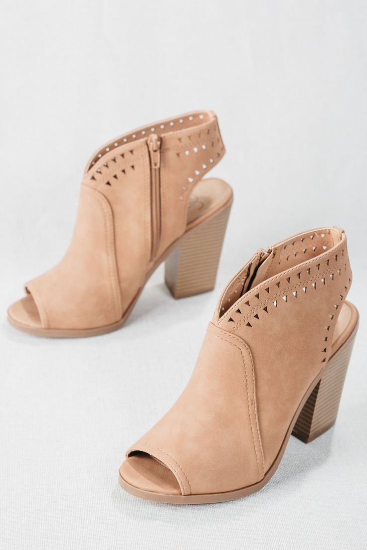 Beautiful to Behold Booties - Women's Heeled Booties, Ankle Boots, Ankle Booties, Women's Cute Trendy Ankle Boots, Leather Ankle Boots, Trendy Shoes, Women's Shoes, Bootie for Fall, Booties For Spring, Transitional Booties, 2018 Bootie Trends, Fashion Booties, Low Cut Booties, Nude Booties, Taupe Booties, Embellished Booties, Cutout Booties, Fall Trend Booties, Winter Trend Booties, Open Toe Booties, Open Back Booties, Faux Leather, Boho Booties, Country Chic Booties, Zip Up Booties