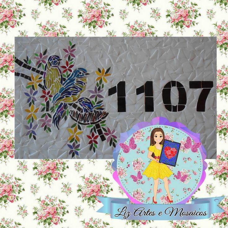 Número em mosaico; placa em mosaico; número residência em mosaico; número mosaico;  numero de casa em mosaico; número de casa em mosaico; numerodecasaemmosaico; numeroresidenciaemmosaico; numeroresidenciamosaico; mosaico; mosaicos; lizartesemosaicos; beija-flor em mosaico; beijaflormosaico; floremmosaico; passaroemmosaico; passaro no galho mosaico