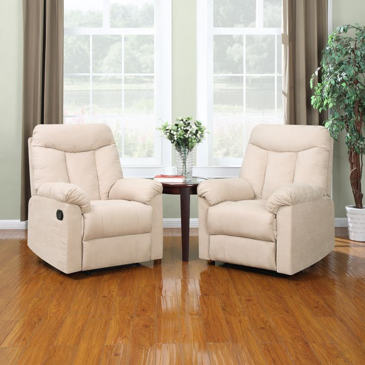 Prolounger Wall Hugger Khaki Microfiber Recliners Set Of