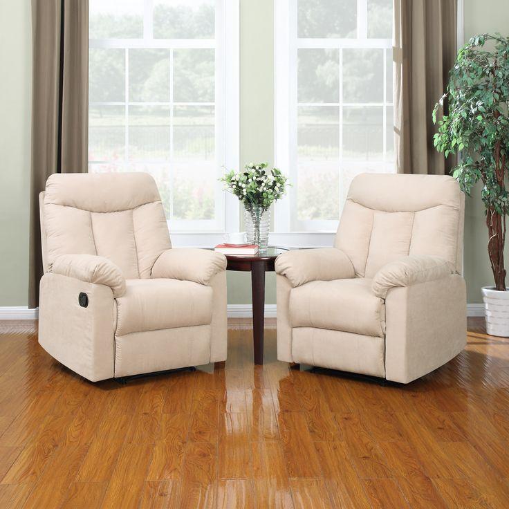 prolounger wall hugger khaki microfiber recliners set of 2 by portfolio upholstery shopping. Black Bedroom Furniture Sets. Home Design Ideas