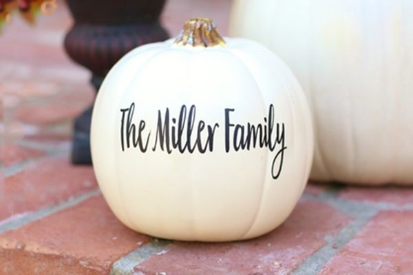 For sale is a personalized decal - perfect to decorate pumpkins for Halloween & Fall Decor! Vinyl decal is super easy to apply - just rub on! Cute way to decorate pumpkins with out the mess of carving.