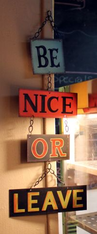 Be nice.Decor Ideas, Back Doors, Quote, Door Signs, Front Doors, The Offices, House Rules, Doors Signs, Good Advice