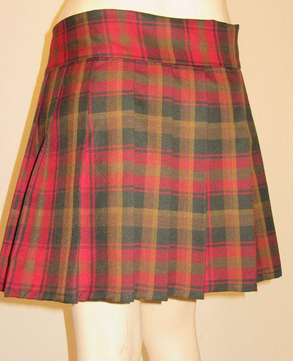 Maple Leaf Ladies Mini Kilt~Gold Brown Plaid tartan Kilt~Highland Games Ladies Kilt~Cocert Parade Plaid Tartan Kilt Custom make @sohoskirts