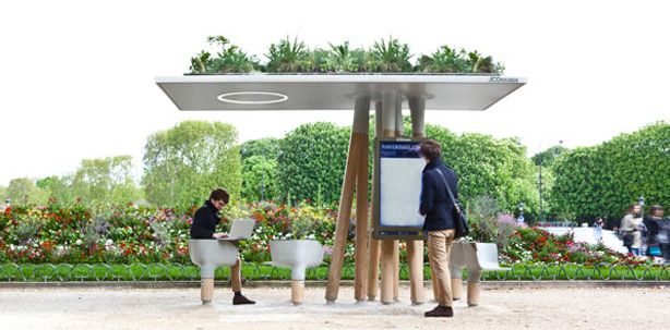 Amazing Green Roof Shelter with Wifi | MADEHANDParis, Escalated Numérique, Wifi, Green Roof, Urban Furniture, Architecture, Design, Bus Stop, Mathieu Lehanneur