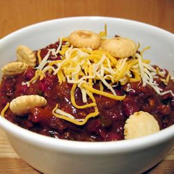 """Hands down, the best chili I have ever made (My parents said so).  I eased up on the spicy-heat by omitting the tabasco and subbing a jalapeno for the 2 green chiles, figuring people can always add. All the comments were like """"I won a chili cook-off with this!""""  AND, I learned a neat trick to reduce spiciness: add some pureed pineapple and/or juice!    Boilermaker Tailgate Chili Allrecipes.com"""