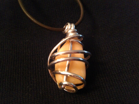 Yellow Stone Wrapped in 10g Sterling Silver by BelindasCreations, $25.00