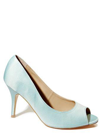 Mint Occasion Satin Peep Toe Court Shoe