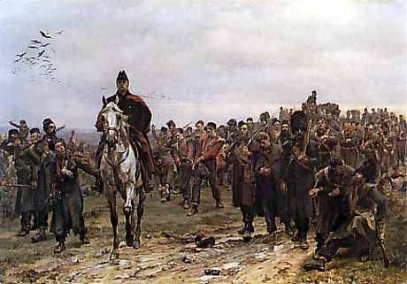 The Roll Call: The men of the 3rd Battalion, Grenadier Guards, after the Battle of Inkerman. The famous picture that won acclaim for Lady Butler at the Royal Academy in London.