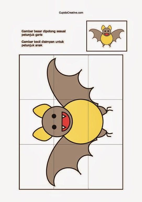 kerajinan/prakarya anak TK, buat sendiri puzzle/jigsaw gambar kelelawar