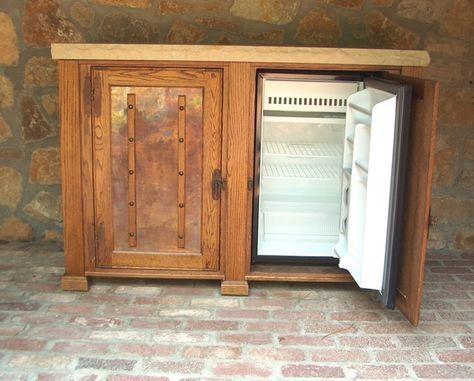 Matukewicz Furniture, TV Lift Cabinets, TV Lifts, TV Lift Furniture, Custom TV Lift Cabinet, Best TV Lift » Outdoor Oak Refrigertor Buffet Cabinet $6,995