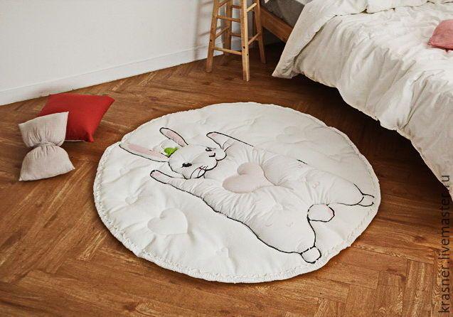 Купить Коврик детсикй - белый, коврик для детской, коврик, матрасик, матрас, плед, зайка, подарок