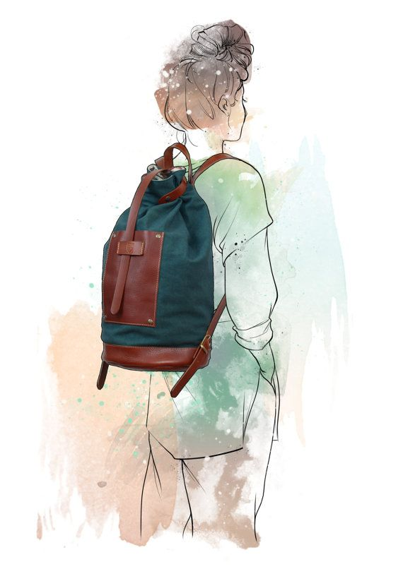 BOHEMIAN BACKPACK / Canvas rucksack / Leather backpack / by ElMato