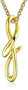 Bling Jewelry Letter F Script Initial Pendant Gold Plated Necklace 18 Inches.