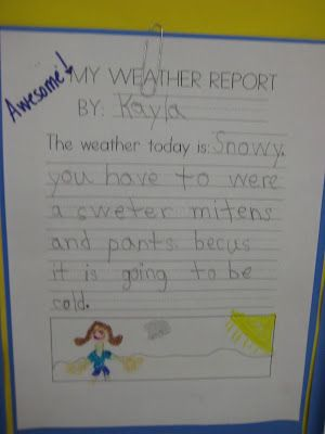 Students will make their own weather report at the end of the weather unit! Super cute!  Great way to incorporate writing into science! :)