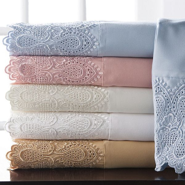 Improvements Royalty Lace 600 Thread Count Sheet Set-Full - Pale Gold (220 ILS) ❤ liked on Polyvore featuring home, bed & bath, bedding, bed sheets, bedroom, linens, pale gold, sheets, lace bedding and rose bedding