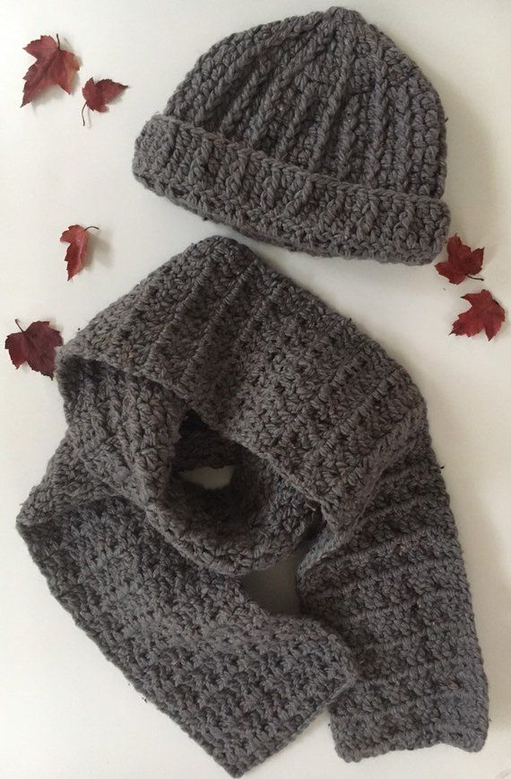 8cf70847c60 Crochet hat scarf set for women - gray fashion accessory set for Fall and  Winter - handmade Winter fashion set for her - Christmas gift set