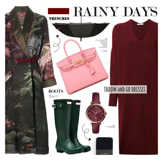"""""""Rainy Day Style"""" by cly88 ❤ liked on Polyvore featuring F.R.S For Restless Sleepers, Mes Demoiselles..., SWIMS, Hunter, Hermès, J.Crew and FOSSIL"""