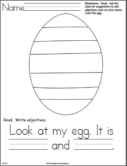 Easter Adjectives Writing Template for Kindergarten