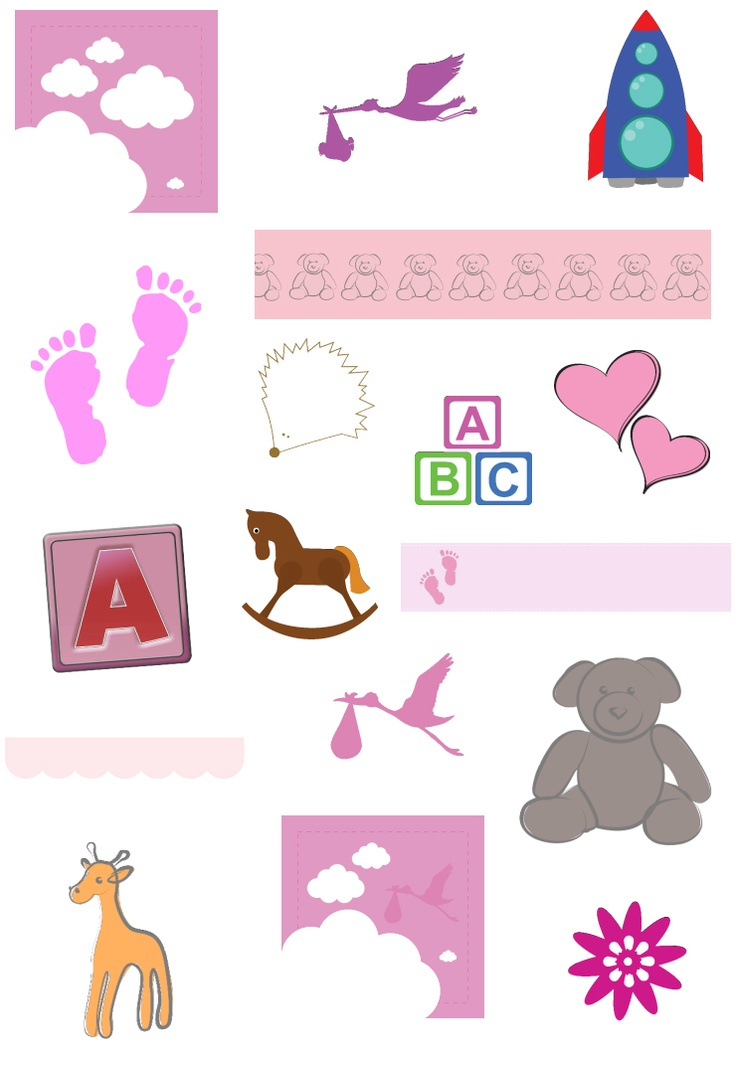 Theme your Baby Girl photobook using scrapbook items and backgrounds in Smiley Hippo photobook software:)