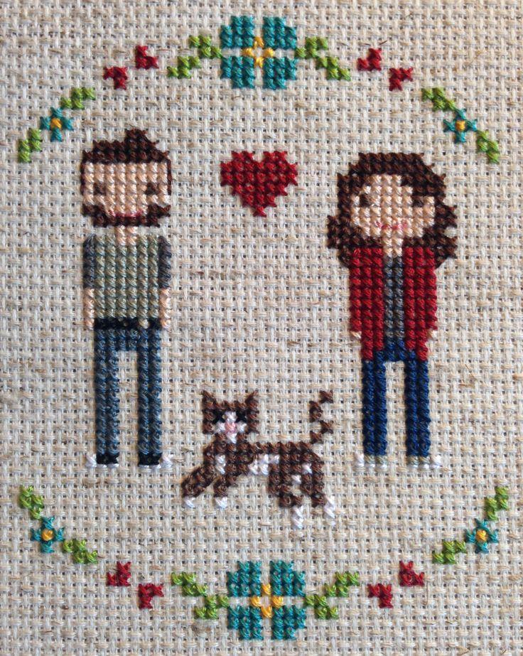 FFO Friday #7: My Little Family cross stitch for my anniversary sleepykittystitches.wordpress.com