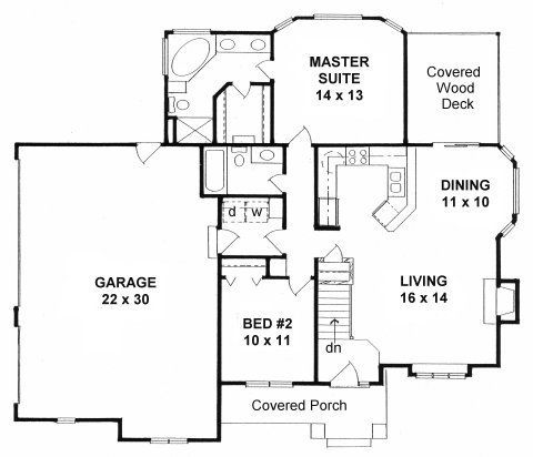 Plan 1111 ranch first floor plan big homes little for Little big house plans