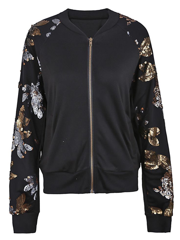 Black Sequined Floral Leaf Sleeves Bomber Jacket - Sheinside.com